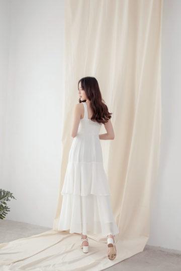 Vivian Dress Plain White 16