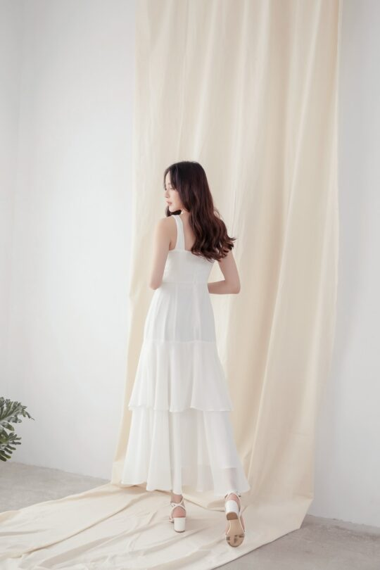Vivian Dress Plain White 9