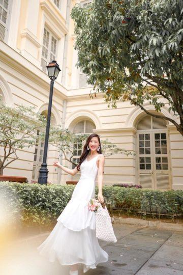 Vivian Dress Plain White 17