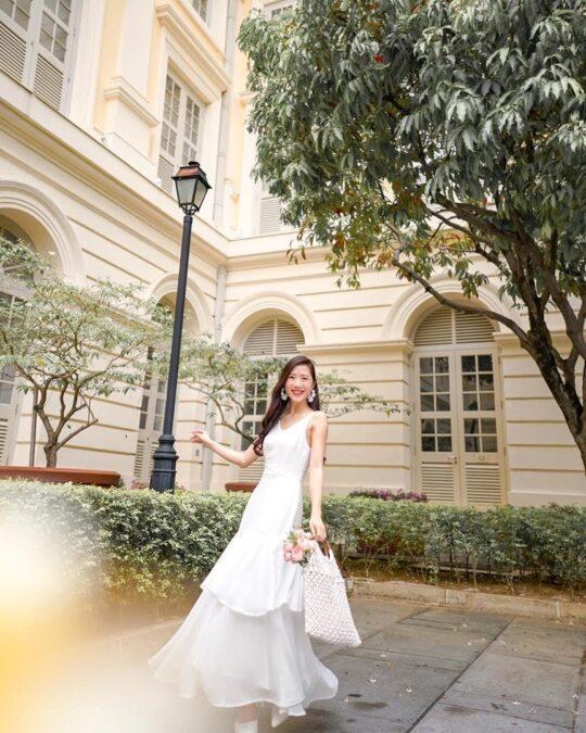 Vivian Dress Plain White 10
