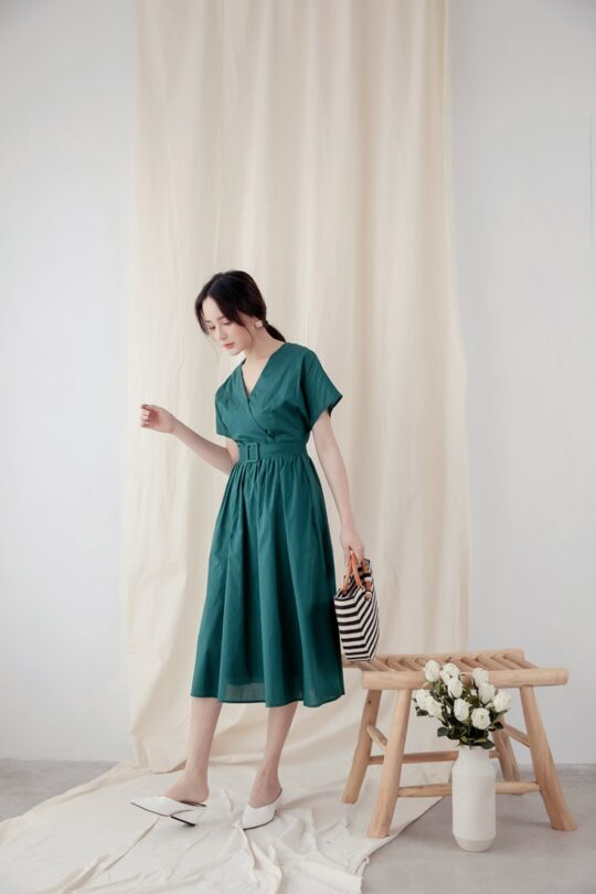 Mary Midi Dress in Green 7