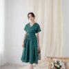 Mary Midi Dress in Dust Blue 2