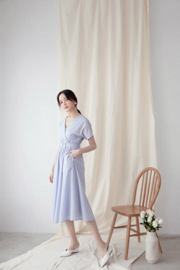 Mary Midi Dress in Dust Blue 11