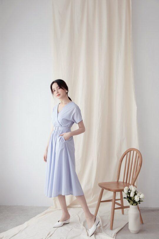Mary Midi Dress in Dust Blue 4