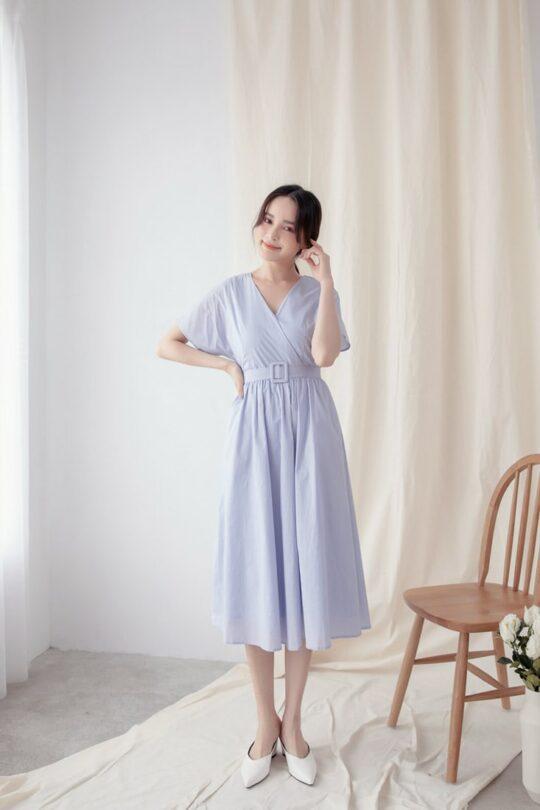 Mary Midi Dress in Dust Blue 3