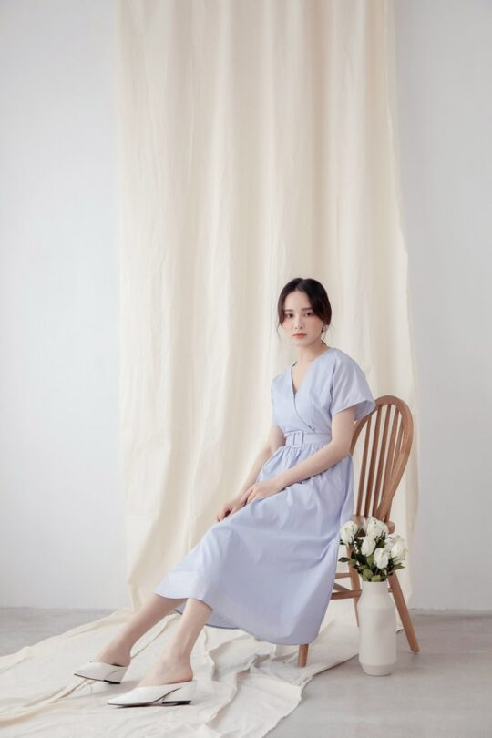 Mary Midi Dress in Dust Blue 7