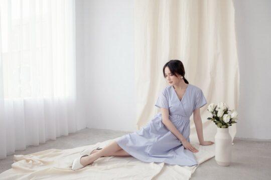 Mary Midi Dress in Dust Blue 8