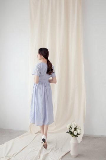 Mary Midi Dress in Dust Blue 17