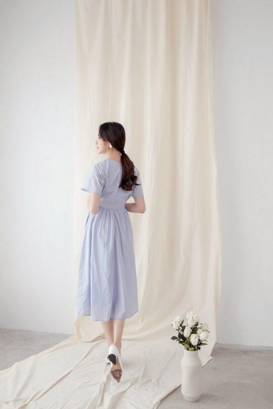 Mary Midi Dress in Dust Blue 10