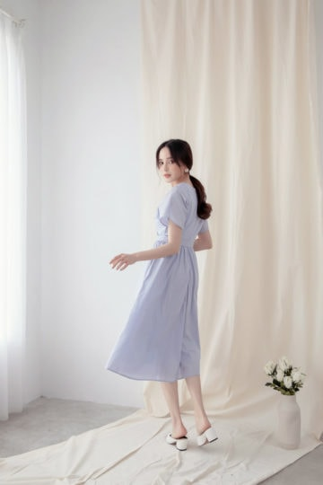 Mary Midi Dress in Dust Blue 12