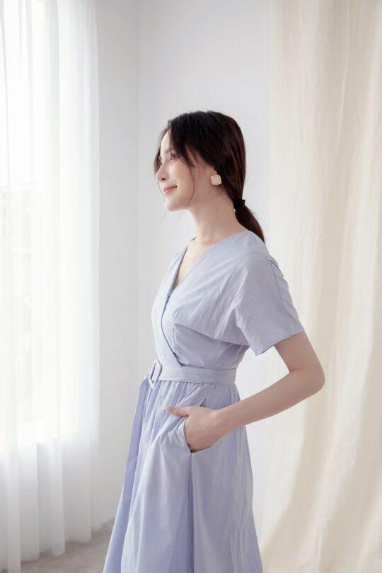 Mary Midi Dress in Dust Blue 6