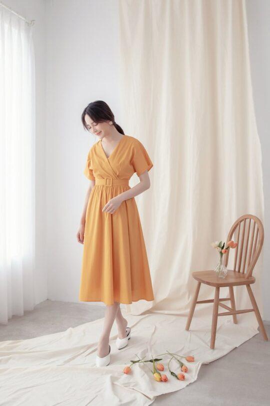 Mary Midi Dress in Mustard 3