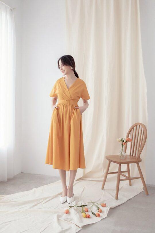 Mary Midi Dress in Mustard 6