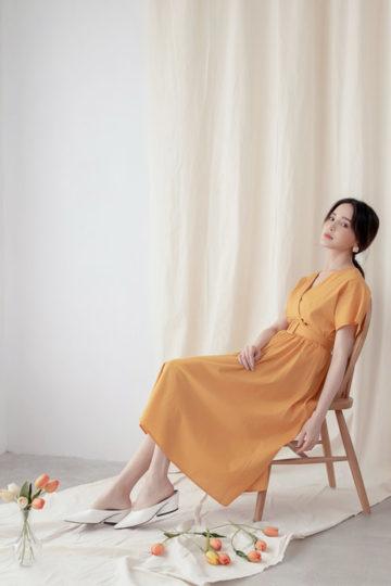 Mary Midi Dress in Mustard 14