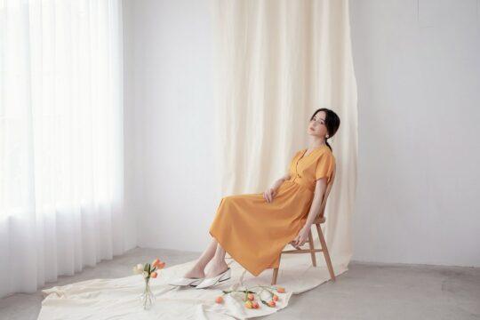 Mary Midi Dress in Mustard 7