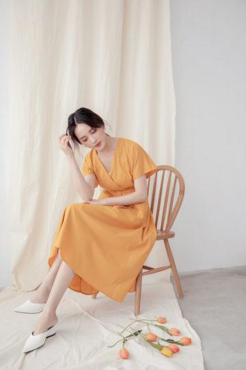 Mary Midi Dress in Mustard 15
