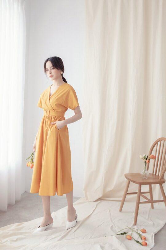 Mary Midi Dress in Mustard 9