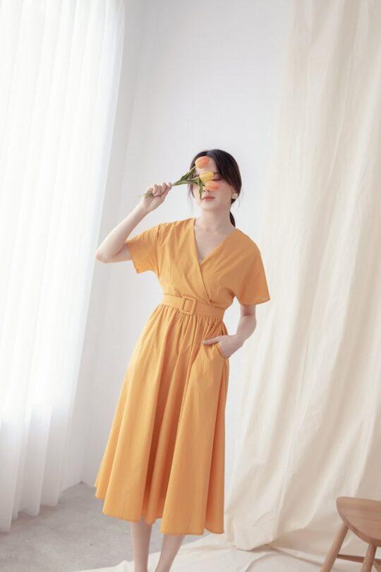 Mary Midi Dress in Mustard 4