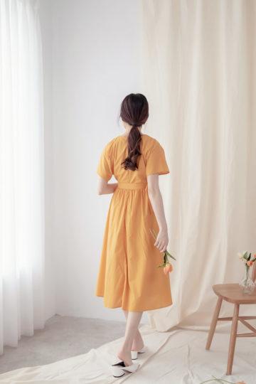 Mary Midi Dress in Mustard 17