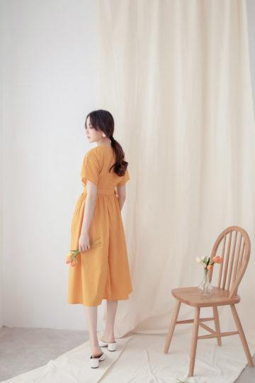 Mary Midi Dress in Mustard 12