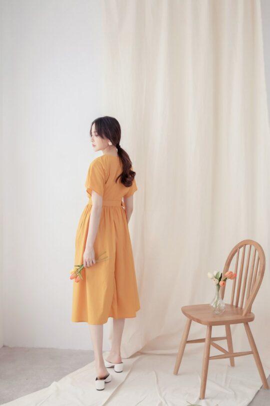 Mary Midi Dress in Mustard 5