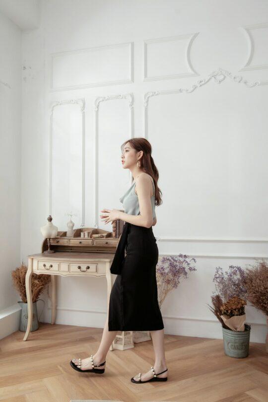 Slit Midi Skirt Black 6