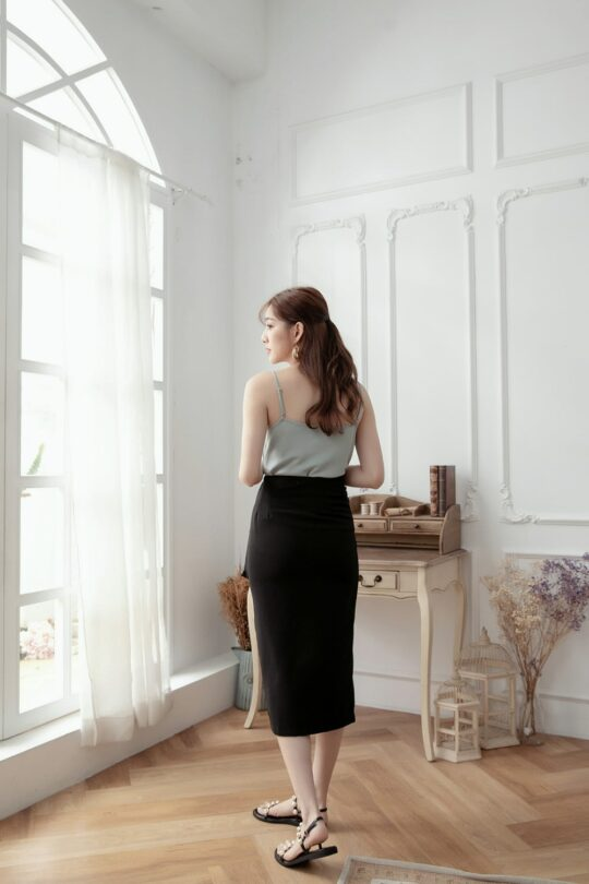 Slit Midi Skirt Black 7