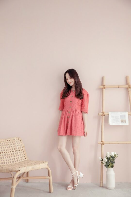 Eyelet Button Playsuit Brick Red 4