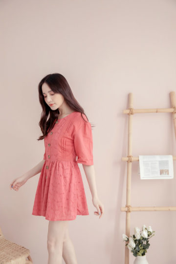Eyelet Button Playsuit Brick Red 12