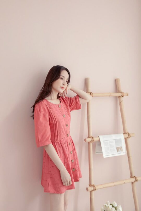 Eyelet Button Playsuit Brick Red 3