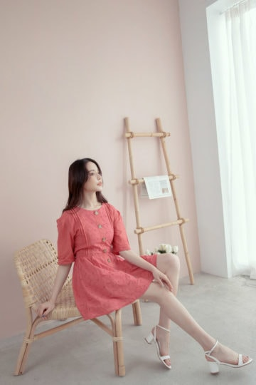 Eyelet Button Playsuit Brick Red 13