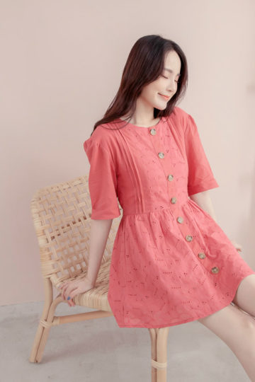 Eyelet Button Playsuit Brick Red 10