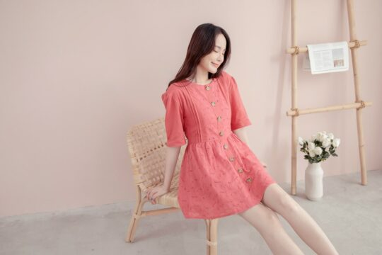 Eyelet Button Playsuit Brick Red 5