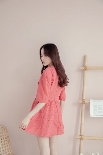 Eyelet Button Playsuit Brick Red 11