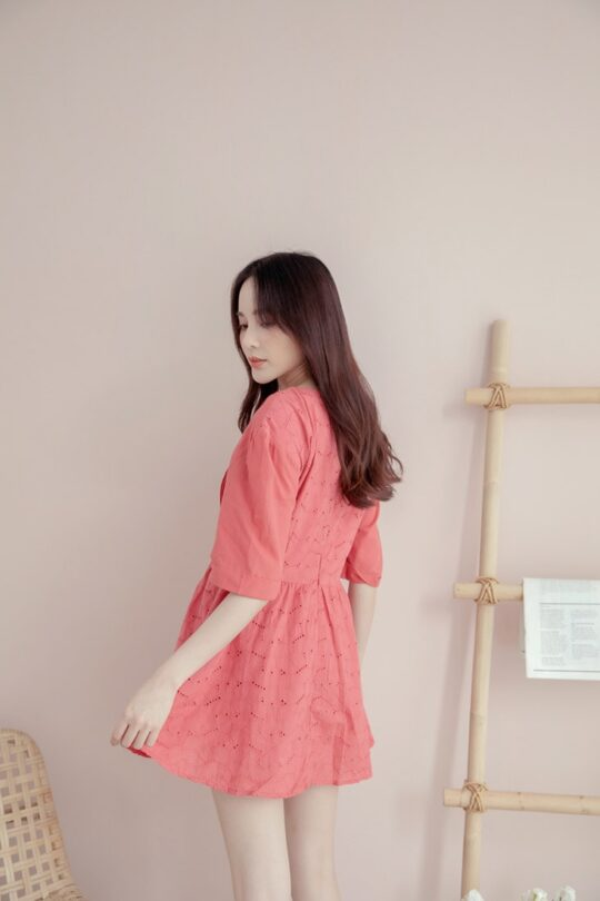 Eyelet Button Playsuit Brick Red 6
