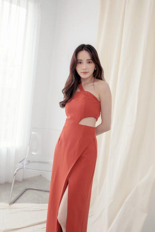 Khloe Cut Out Dress Brick Red 9