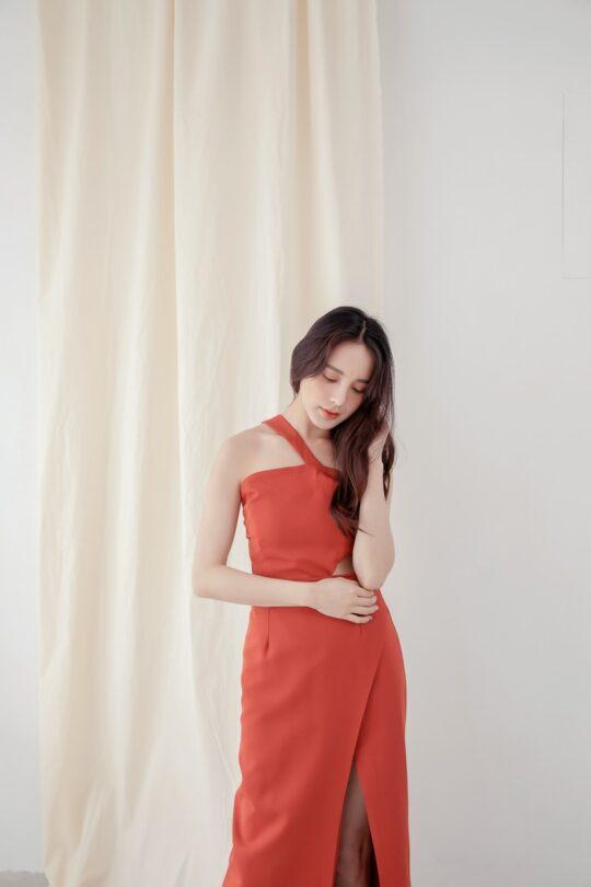 Khloe Cut Out Dress Brick Red 5