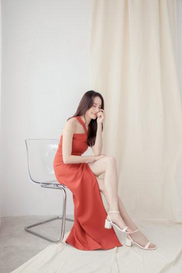Khloe Cut Out Dress Brick Red 12