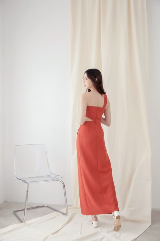 Khloe Cut Out Dress Brick Red 4