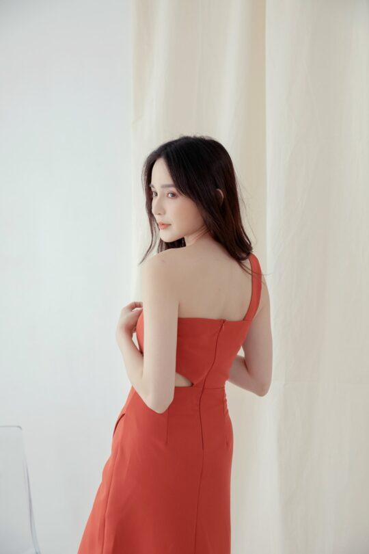Khloe Cut Out Dress Brick Red 7