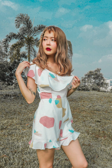 Mellow Playsuit in marshmallow print 8