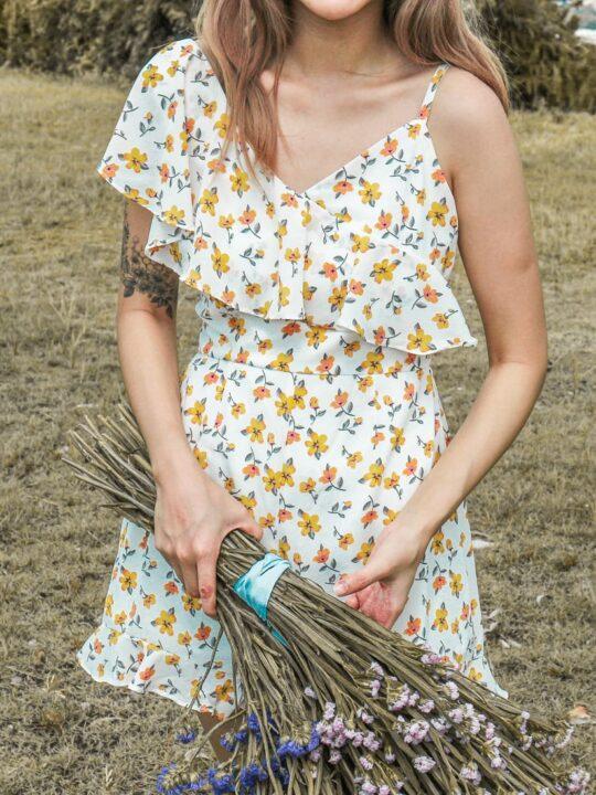 Mellow Playsuit in Yellow Flower 6